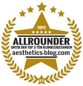 """Die Klimmzugstange """"Get Strong"""" von Sportastisch wurde vom aesthetics-blog.com zum Testsieger der Allrounder gewählt."""