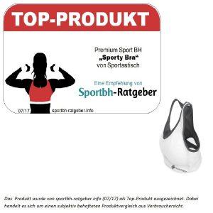 Das Produkt wurde von sportbh-ratgeber.info (07/17) als Top-Produkt ausgezeichnet. Dabei handelt es sich um einen subjektiv behafteten Produktvergleich aus Verbrauchersicht.