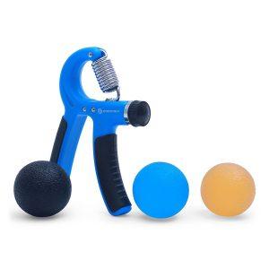 """Der Premium Handtrainer """"Strong Grip"""" von Sportastisch mit 3 hochwertigen Stressbaellen."""