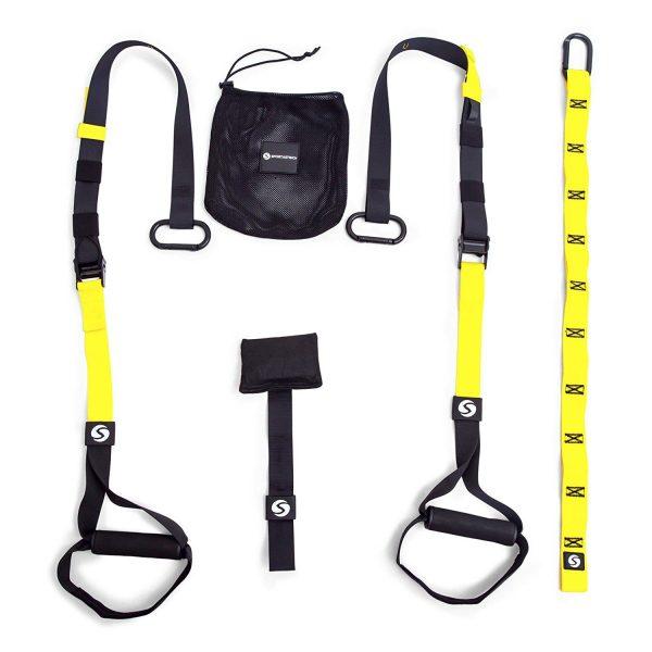 Der Schlingentrainer Set + Türanker + Schlaufen halterung von Sportastisch ist in gelb/schwarz erhältlich.